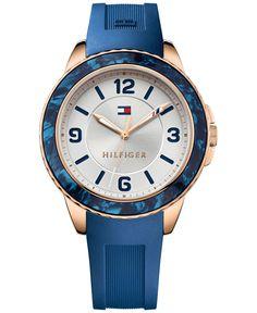 Tommy Hilfiger Women's Blue Silicone Strap Watch 40mm 1781539