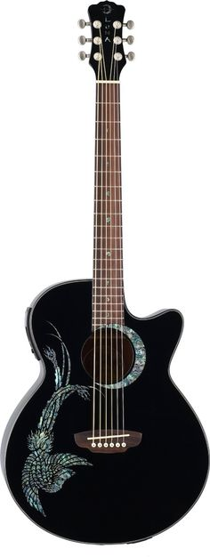 Amazon.com: Luna Fauna Phoenix Acoustic Guitar, Black: Musical Instruments