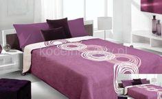Dwustronne modne narzuty koloru fioletowego z kremowym ornamentem