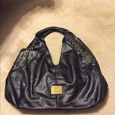 Prada look alike purse gold studded with zippers Prada inspired handbag, general wear shown in pictures American Apparel Bags