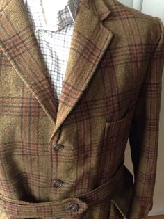 Vintage 1940's Hebden Cord Tweed Norfolk Belted Jacket Hunting Shooting L XL…