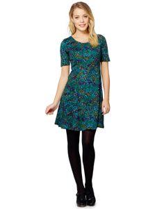 FELICIA PRINT klänning mörkturkos | Print | Jersey dress | Klänningar | Mode | INDISKA Shop Online
