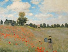 Painted in the fields of Argenteuil, Monet treated the canvas with a white primer to achieve this bright and summery effect. The mother and child in the foreground are likely to be his wife and son, who act as a pretext for a diagonal contour receding towards the figures in the background, balancing the composition. Forms are composed entirely of contrasts in colour – there are no lines. The sprinkled poppies get disproportionately large towards the foreground, generating a sense of rhythm…
