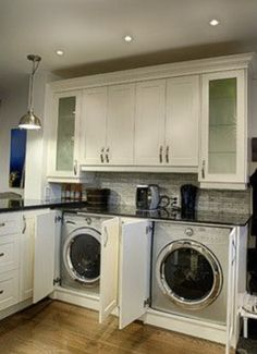 Washer And Dryer In Kitchen Design Ideas, Pictures, Remodel and Decor Laundry In Kitchen, Laundry Cabinets, Laundry Closet, Small Laundry Rooms, Laundry Room Organization, Laundry Room Design, Kitchen Redo, Laundry Table, Basement Kitchen