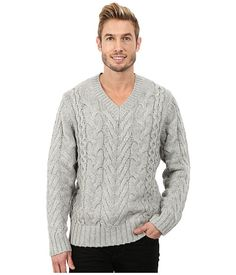 DKNY Jeans Long Sleeve Lux Cable V-Neck Sweater Heather Grey - Zappos.com Free Shipping BOTH Ways