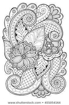 Doodle background in vector with doodles, flowers and paisley. Vector ethnic pattern can be used for wallpaper, pattern fills, coloring books and pages for kids and adults. Black and white. Pattern Coloring Pages, Adult Coloring Book Pages, Cute Coloring Pages, Flower Coloring Pages, Mandala Coloring Pages, Printable Coloring Pages, Coloring Books, Abstract Coloring Pages, Estilo Mehndi