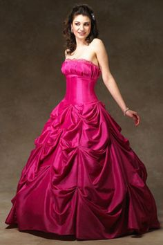 Ball-Gown Strapless Floor-Length Taffeta Quinceanera Dress With Ruffle Lace… 7c7b63b0d1ee