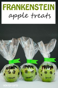 FRANKENSTEIN apple treats. Healthy alternatives. No-candy Halloween treats for kids. | at Non Toy Gifts