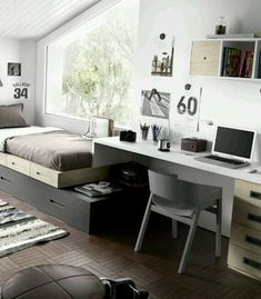 Having a home makes someone quite impossible to have a room specifically designed to work especially for learning. Instead of using it as a study room, people would prefer to use it as a bedroom. Home Design, Interior Design, Study Room Design, Childrens Beds, Design Case, My New Room, Room Set, Room Inspiration, Bedroom Decor
