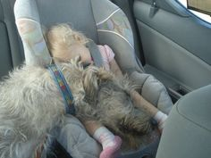 Baby and dog sleeping in baby car seat.