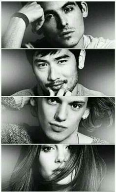 Kevin Zegers, Godfrey Gao, Jamie Campbell Bower, & Lily Collins :D <3 <3