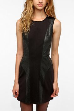 Silence and Noise Leatherette Black Dress Urban Outfitters