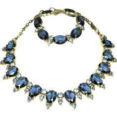 Schiaparelli Vintage Sapphire Rhinestone Necklace and Bracelet from The Vintage Jewelry Boutique Exclusively on Ruby Lane