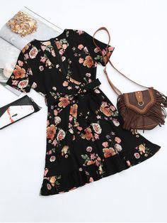 Floral Plunging Neck Ruffles Surplice Dress - BLACK M