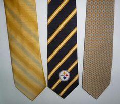 """Mens Vintage NFL STEELERS Football SILK Tie TANGO Van Heusen LOT of 3 57""""-59"""" #NFL #Tie"""