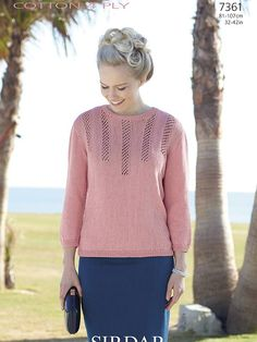 7361 - Sirdar Cotton 4 Ply Sweater Knitting Pattern - To Fit Chest . Summer Sweaters, Baby Sweaters, Sweaters For Women, Sweater Knitting Patterns, Crochet Patterns, Wool Shop, 4 Ply Yarn, Baby Cardigan, Knitting Accessories
