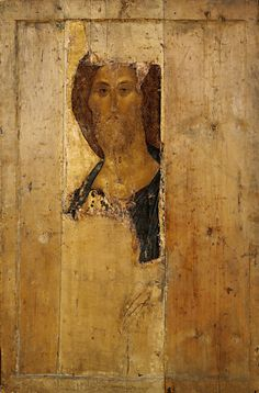 Andrei Rublev - Saviour. From the Deisus Chin ( 158 cm x 106 cm, tempera on wood ) Beginning of the 15th century. Tretyakov Gallery, Moscow