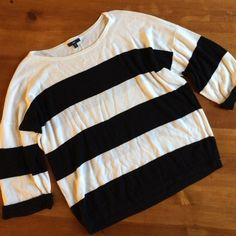 Gap B&W Striped Sweater Cotton and modal material, 3.5 inch horizontal stripes, 3/4 length sleeves, 24 inch length from shoulder to base hem, loose fit, lightweight and comfortable, excellent condition GAP Sweaters Crew & Scoop Necks