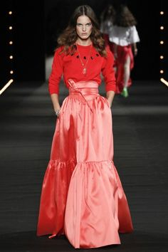 PFW: Alexis Mabille's Watermelon Runway | Red Top and Satin Skirt | The Luxe Lookbook