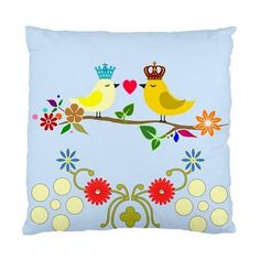 Love Birds & Flowers on a Tree Branch Satin Cushion Cover | Bling Jewellery by Janine Antulov | madeit.com.au