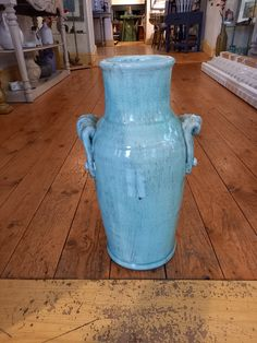Pale Green/Blue Handled Vase   framedwhitehaven Shop Interiors, Blue Green, Vase, Fine Art, Home Decor, Decoration Home, Duck Egg Blue, Room Decor, Vases