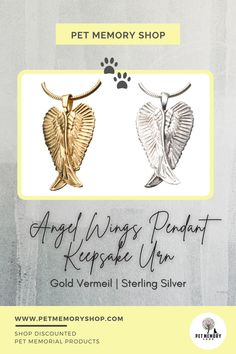 The angel wings have a raised feather pattern on the front. It can be filled through a threaded screw in the middle of the back. It is available in two finishes: gold vermeil and sterling silver. It can not be engraved. Pet Memorial Jewelry, Keepsake Urns, Angel Wing Pendant, Feather Pattern, Pet Loss, Pet Memorials, Pet Gifts, Angel Wings, Middle
