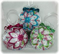Quilted Christmas Ornament Set of 3  by MyPrairieCreations on Etsy, $50.00