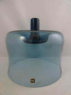 Hadeland Glass Cheese Dome Teak Serving Tray Norway Art Glass   eBay