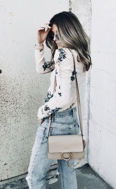 floral top + jeans + chloe faye