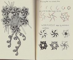 Wormhole-tangle pattern by molossus, who says Life Imitates Doodles, via Flickr
