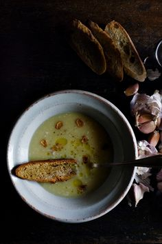 Tourin à l'ail/ Garlic soup | Manger  :  Omit flour.  One comment suggests thickening with white beans.