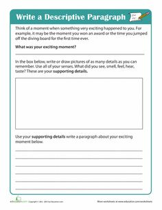 Worksheets: Write a Descriptive Paragraph