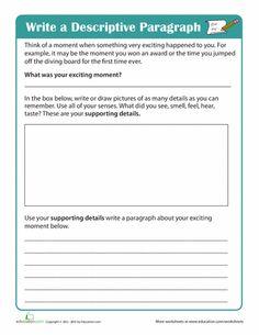 Worksheets: Write a Descriptive Paragraph