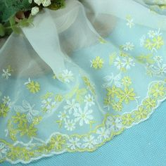 6.5*1Y Embroidered Tulle Lace Trim~Dark Green+Purple+White~Breath of Spring~SALE