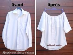 Idea Couture: What to do with a man& shirt? - Laetitia Dutertre - - Idée Couture : Que faire avec une chemise d'homme ? Idea Couture: What to do with a man& shirt?Made in France -Idea Couture: Was macht man mit einem Herrenhemd?directions in French, Shirt Refashion, T Shirt Diy, Diy Clothing, Sewing Clothes, Men Clothes, Clothing Styles, Barbie Clothes, Diy Fashion, Ideias Fashion