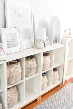 Toy storage baskets in cube storage for Z storage Playroom Storage — iron & twine Living Room Toy Storage, Bedroom Storage Ideas For Clothes, Bedroom Storage For Small Rooms, Ikea Toy Storage, Toy Storage Baskets, Patio Storage, Diy Storage, Storage For Toys, Toy Storage Cubes