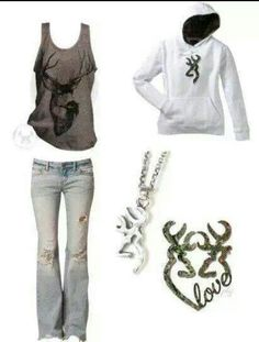 Country girl style love the shirt and the necalese Country Style Outfits, Country Girl Style, Country Fashion, My Style, Country Life, Southern Style, Southern Comfort, Camo Outfits, Cowgirl Outfits