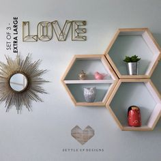 SALE Set of 3: Hexagon Floating Shelves EXTRA by SETTLEUPDESIGNS