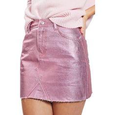 Women's Topshop Moto High Waist Metallic Denim Miniskirt ($65) ❤ liked on Polyvore featuring skirts, mini skirts, pink, denim mini skirt, mini skirt, denim miniskirt, pink skirt and purple skirt