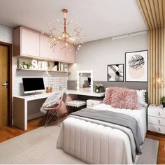 small bedroom ideas that are look stylishly & space saving 39 Room Design Bedroom, Girl Bedroom Designs, Room Ideas Bedroom, Home Room Design, Small Room Bedroom, Home Decor Bedroom, Small Rooms, Bedroom Decor For Teen Girls, Teenage Room Decor