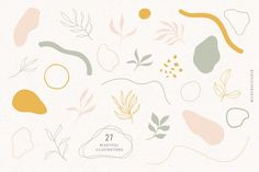 Fresh Flora & Abstract Shapes is a collection of hand drawn flora illustrations + abstract shapes perfect for logo design, packaging, styling quotes, so Floral Illustrations, Botanical Illustration, Graphic Illustration, Pattern Illustration, Character Illustration, Logo Design, Shape Design, Design Art, Design Ideas