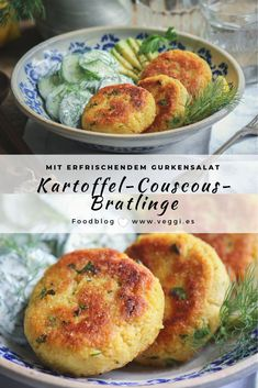 Potato couscous patties with cucumber salad These delicious vegan potatoes . - Potato couscous patties with cucumber salad These delicious vegan potato couscous patties are - Salad Recipes Healthy Lunch, Salad Recipes For Dinner, Chicken Salad Recipes, Easy Healthy Recipes, Veggie Recipes, Vegetarian Recipes, Easy Meals, Healthy Food, Cooking Recipes