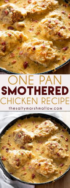 One Pan Smothered Chicken is a classic recipe of seared chicken that is easy to make in 30 minutes! Tender chicken is smothered in a rich and creamy gravy with bacon! chicken recipes One Pan Smothered Chicken Smothered Chicken Recipes, Chicken Parmesan Recipes, Chicken Salad Recipes, Chicken Thighs And Bacon Recipe, Recipes With Chicken Gravy, Gravy For Chicken, Easy Recipes With Chicken, Easy Chicken Dishes, Delicious Chicken Recipes