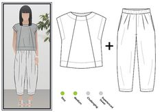 Sewing Top Ethel Top Pant Outfit Sewing Pattern Bundle By Style Arc - Elastic waist crop Gaucho pant Sewing Pants, Sewing Clothes, Diy Clothes, Clothes For Women, Sewing Men, Sewing Tips, Sewing Tutorials, Ladies Clothes, Pdf Sewing Patterns