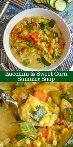 Leave out bacon for great veg'n meal. Also great with a touch of curry pdr. A quick and easy meal, this sweet & savory Zucchini & Sweet Corn Summer Soup is the sleeper meal that you didn't know you've always needed and wanted. Vegetarian Recipes, Cooking Recipes, Healthy Recipes, Zucchini Soup, Zucchini Squash, Gula, Soup And Sandwich, Dinner Recipes, Summer Soup Recipes
