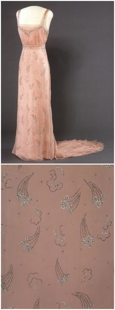 Dress belonging to Queen Maud of Norway, c. 1934. Machine-woven silk stretch plain weave and satin, hand embroidered with metal sequins and bugle beads. Metal snaps and clasps. The National Museum of Art, Architecture and Design, Oslo, via DigitaltMuseum (link: http://digitaltmuseum.no/011061626311?pos=25&count=133&folder_id=2144).