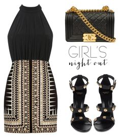 """Girls' Night Out: Summer Edition"" by tania-alves ❤ liked on Polyvore featuring River Island, Versace, Chanel and girlsnightout"