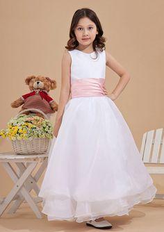 2015 Tulle Sleeveless White Ruched Straps Zipper Tea Length Flower Girl Dresses FGD