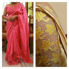 Designer Blouse Patterns, Saree Blouse Patterns, Saree Blouse Designs, Embroidery Blouses, Cutwork Embroidery, Kerala Saree, Indian Sarees, Saree Styles, Blouse Styles
