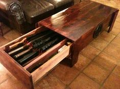 Concealed Gun Rack Coffee Table  http://concealedfurniture.com/Concealed-Firearm-Cedar-Coffee-Table-55-x-24-x-19-High-55-x-26-x-19-Cedar.htm